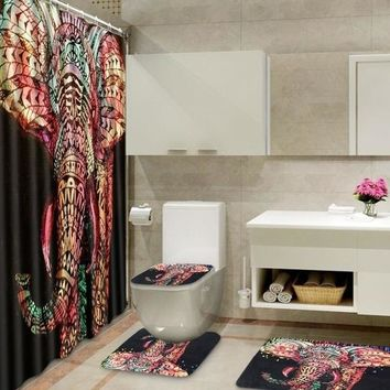 180*180CM African Elephant Printed Bathroom Set