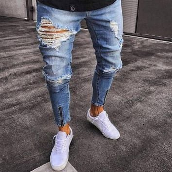 Male Denim Jeans Trousers Jeans For Mens Slim Fit Pants Men Ripped Pants New Skinny Jeans Men Biker Straight Hip Hop Frayed Hole