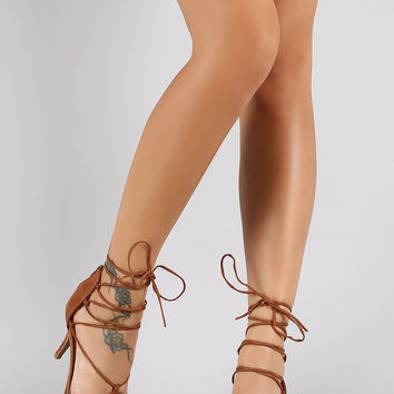 Qupid Corset Lace Up Pointy Toe Pump