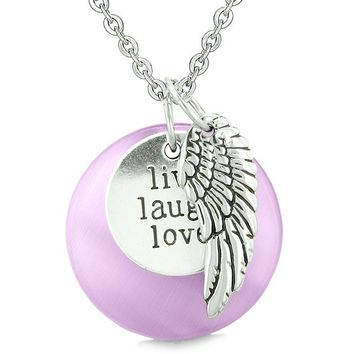 Guardian Angel Wing Live Laugh Love Inspirational Magic Amulet Purple Simulated Cats Eye Necklace