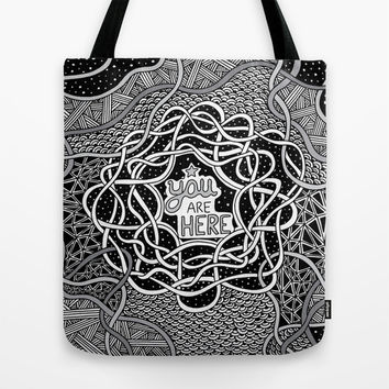 You Are Here Tote Bag by Alliedrawsthings | Society6