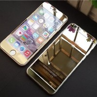 iPhone 6 Plus Screen Protector,Enrgo(TM) Electroplating Mirror Effect Front Screen & Back Tempered Glass Screen Protector Film Whole Body Protection Anti Scratches for iPhone 6 5.5 inch (Gold)