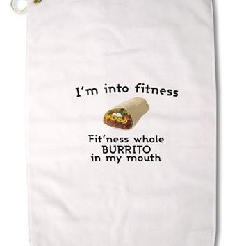 "I'm Into Fitness Burrito Funny Premium Cotton Golf Towel - 16"" x 25 by TooLoud"