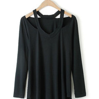 V-Neck Cut-Out Long Sleeve T-shirt