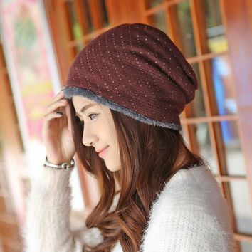 ICIKJG2 Caps Winter Female Hats Warm Lining Skullies & Beanies Hip-hop Slouch Mens Knitted Cap Women Winter Hat Fleece Beanies Gorros