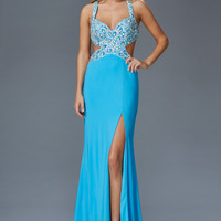 G2144 Aqua Jersey Cut Out Prom Dress