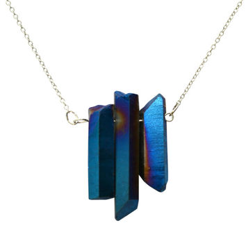 Three Crystal Rainbow Quartz Necklace