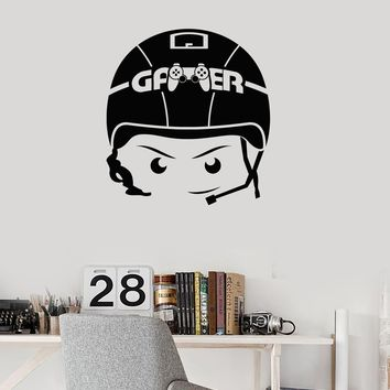 Gamer Vinyl Wall Decal Boy Video Games Headphones Room Art Stickers Mural (ig5331)