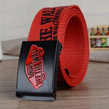 """VANS"" Men and women leisure belt han edition automatically canvas woven belt Red"