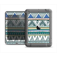 The Abstract Blue and Green Triangle Aztec Apple iPad Mini LifeProof Nuud Case Skin Set