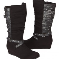 Mid Calf Wedge Slouch Buckle Boots | Girls Boots Shoes | Shop Justice
