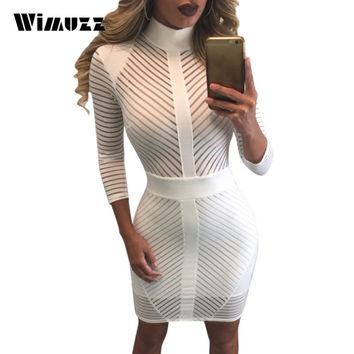 Wimuzz Bodycon Turtleneck Autumn Dress Women Sexy See Through Mesh Striped Dress Club Wear White Short Party Dresses