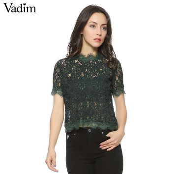 Women sweet lace crop tops short sleeve vintage casual o-neck blouse back zipper ladies fashion streetwear shirts blusas DT857