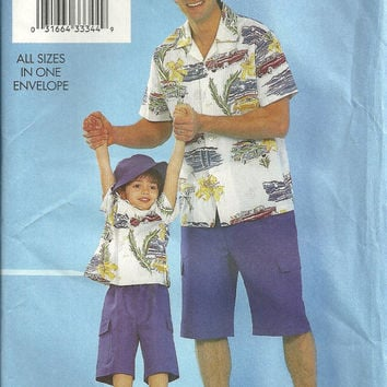 Shirt Shorts Hat  Pattern Father and Son by debspatterns55 on Etsy