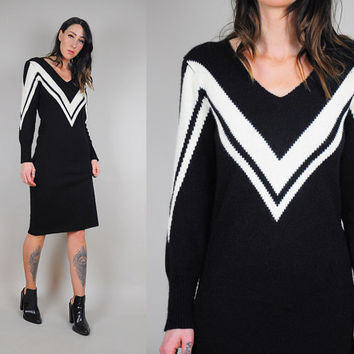 80's Maggie varsity stripe sweater Dress