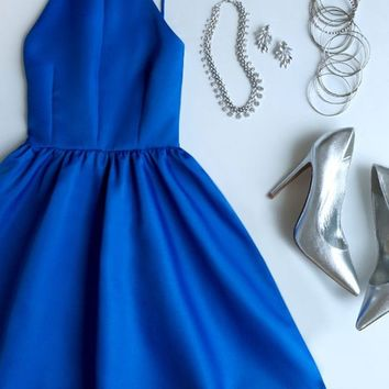 A Line Royal Blue Backless Prom Dresses, Short Royal Blue Formal Dresses, Graduation Dresses, Short Royal Blue Homecoming Dresses
