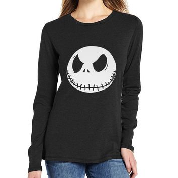 Smile Christmas Jack Print Long Sleeve Cotton T-Shirt