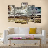 Horse Grazes In The Field Multi Panel Canvas Wall Art