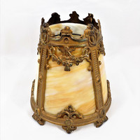 Victorian Caramel Slag Glass Shade, Floor Lamp Replacement Shade, Neoclassical, Vintage Lamp Shades