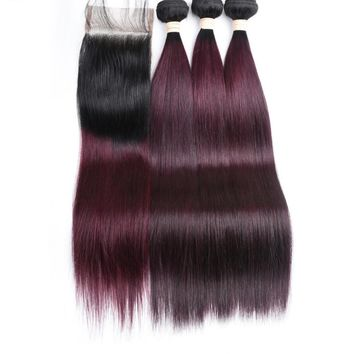 Ombre Brazilian Human Hair Straight Remy 3 Bundles and Closure