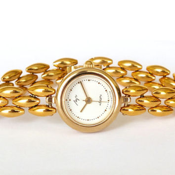 Womens Watch Luch. Gold Plated Womens Watch Bracelet. Retro Style Ladies Cocktail Watch. Vintage Small Quartz Watch For Women.