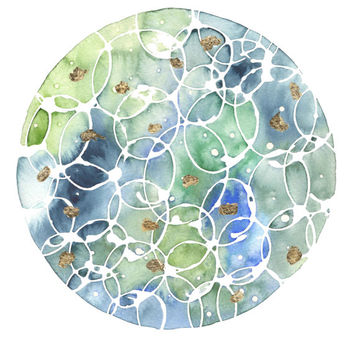 Original Abstract Watercolor, Circle Art, Bubbles, 9x12, Circle Watercolor, Blue, Ocean, Gold Leaf, Wall Art, One of a Kind, Contemporary