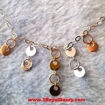 14k Tri Color Rose, Yellow, White Gold Layer on 925 Sterling Silver Glamorous Necklace