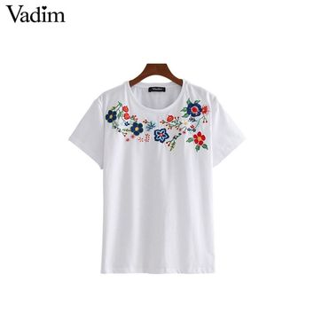 Vadim women sweet floral embroidery T shirt oversized short sleeve o neck tees ladies summer casual loose tops camiseta DT1257