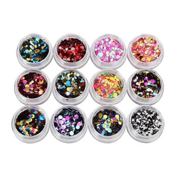 2017 12 Colors Nail Art Tips Stickers Acrylic 3D Glitter Sequins Manicure DIY Nail sticker Beauty Nail art decorations Maquiagem