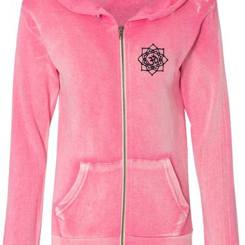Black Lotus OM Patch Pocket Print Fleece Full-Zip Hoodie