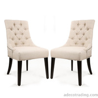 European Style Tufted Side Chairs (Set of 2) Cream