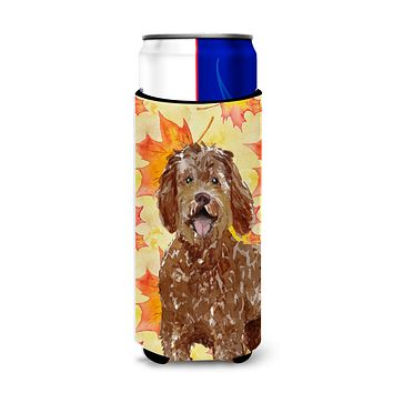 Fall Leaves Labradoodle Michelob Ultra Hugger for slim cans CK1837MUK