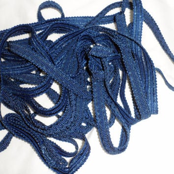 VINTAGE 1/2 inch Blue Braided Conso Trim/10 3/4 Yards Cushion Trim/Upholstery/Crazy Quilting/Costume Trim/Deep Blue Braided Trim/Crafting