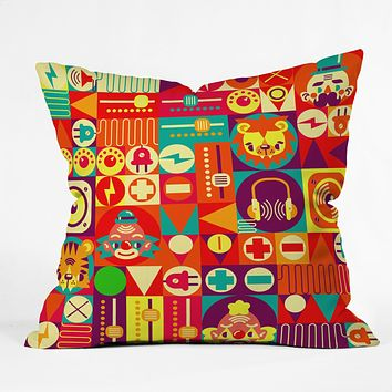 Chobopop Electro Circus Throw Pillow