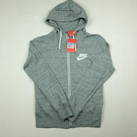 """NIKE"" Leisure Women Hooded Sweatshirt Jacket Gray"
