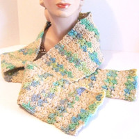 Hand Crocheted Scarf: Woodland Stripes, Tan and Green - M0109