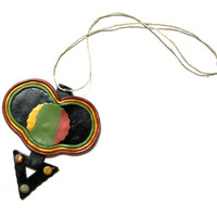Polymer clay necklace, clay pendant necklace, black, olive, citrine, russet, geometric jewelry