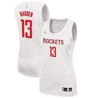 Women's Houston Rockets James Harden adidas White Fashion Replica Jersey