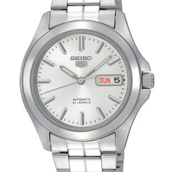 Seiko 5 Automatic Mens Watch - Silver-Tone Dial - Steel Case & Bracelet - 30M WR