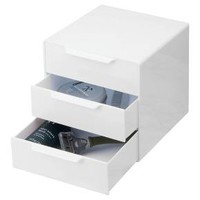 Bathroom 3-Drawer Storage Organizer Cube White - InterDesign