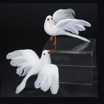 12 Christmas Table Top Ornaments - White Dove