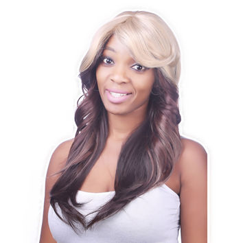Fashion Synthetic Hair Wigs 2016 New Arrival Long Hair None Lace Wigs Wavy Female Wig Heat Resistant