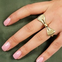 Antique Gold Bow Double Finger Ring