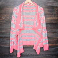 cozy bonfire aztec print tribal cardigan in bright coral