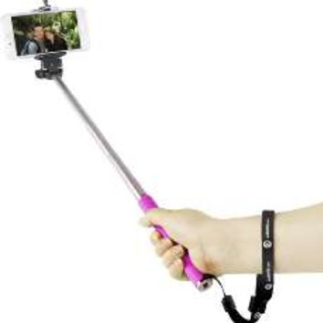 5IVE Selfie Stick Extendable Handheld Monopod Pole with Adjustable Phone Holder (Black + Bluetooth Shutter)