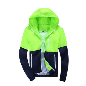 2016 Women Windbreaker Men Jacket Hooded Coat Patchwork Sunscreen Clothing Couple Spring sweatshirt sports casual tops Outwear