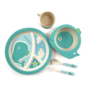 5pcs/set Character baby Plate bow cup Forks Spoon  Dinnerware feeding Set,100% bamboo fiber Baby children tableware set ykd-11