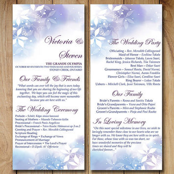 "Winter Wedding Program Template Download - Tea Length Program  ""Watercolor Winter"" Blue Purple White DIY Wedding Template Order of Service"