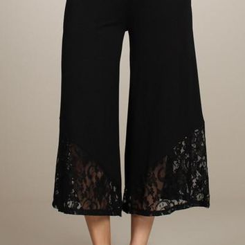 Black Lace Gaucho Pants