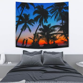 Ocean Palm Trees Sunset Getaway Tapestry